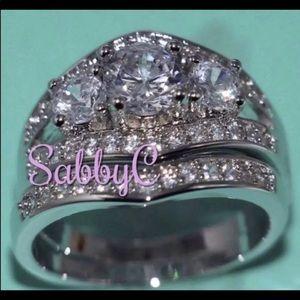 New 10 k white gold wedding ring set